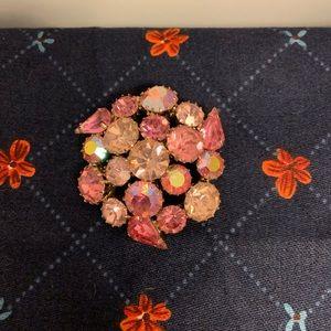 Vintage iridescent Pink Rhinestone Brooch Pin